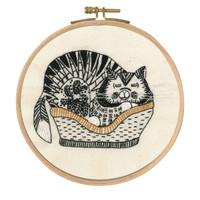 Sebastian Sleeping Printed Embroidery Kit With Hoop By DMC