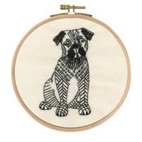 Doug the Pug Printed Embroidery Kit with Hoop By DMC