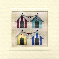 Beach Huts Mini Card Cross Stitch Kit by Textile Heritage