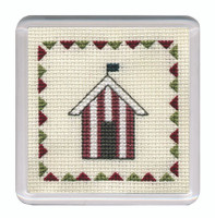 Beach Huts Coaster (Red) Cross Stitch Kit by Textile Heritage