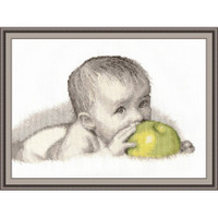 Baby With Apple Cross Stitch Kit by Oven