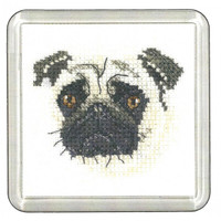 Pug Little Friend Cross Stitch Coaster Kit By Heritage