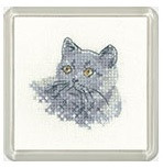British Blue Cat Cross Stitch Coaster Kit By Heritage