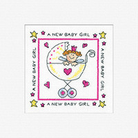 New Baby Girl Cross Stitch Card Kit By Heritage