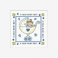 New Baby Boy Cross Stitch Card Kit By Heritage