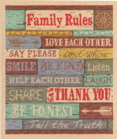 Family Rules Cross Stitch Kit By Janlynn