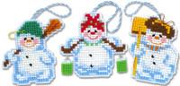 Snowman Ornaments Cross Stitch Kit By Riolis