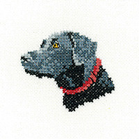 Black Labrador 'Little Friends' Cross Stitch Kit By Heritage