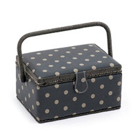 Rectangle - Matt PVC - Charcoal Polka Dot  Medium Sewing Box By Hobby Gift
