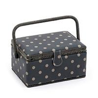 Rectangle - Matt PVC - Charcoal Polka Dot  Small Sewing Box By Hobby Gift