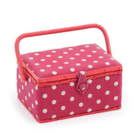 Rectangle - Red Spot  Medium Sewing Box By Hobby Gift