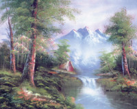 Mountain Cascades  Tapestry Canvas By Collection D'art