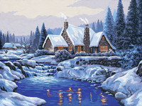 Reflections in the Snow  Tapestry Canvas By Collection D'art