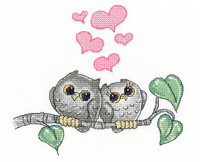 Hearts and feathers Cross Stitch Kit Peter Underhill
