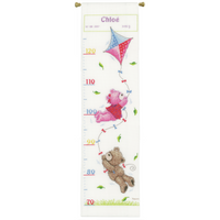 Counted Cross Stitch Kit: Height Chart: Popcorn & Brie Flying  By Vervaco