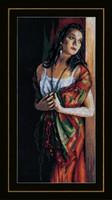 Lady and Scarf Cross Stitch Kit by Lanarte