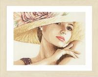 Elegant Lady With Hat Cross Stitch Kit by Lanarte