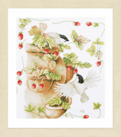 Strawberries and birds Cross Stitch Kit by Lanarte
