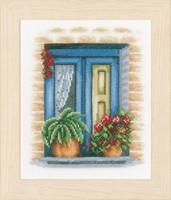 Blue Window Cross Stitch kit by Lanarte