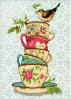 Stacked Tea Cups Cross Stitch Kit by Dimensions