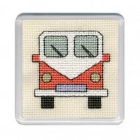 Orange Camper Van Coaster Cross Stitch Kit by Textile Heritage