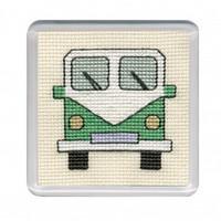 Green Camper Van Coaster Cross Stitch Kit by Textile Heritage