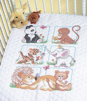 Stamped Cross Stitch: Quilt: Animal Babes By Dimension