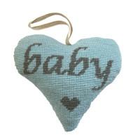 Baby Boy Lavender Heart (Grey on Blue) Tapestry Kit