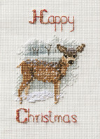 Christmas Card – Deer in a Snowstorm Cross Stitch kit