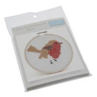 Cross Stitch Kit with Hoop: Robin