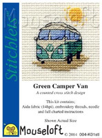 Green Camper Van Cross Stitch Kit by Mouse Loft