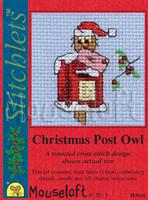 Christmas Post Owl Cross Stitch Kit by Mouse Loft