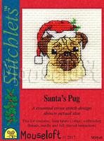 Santa's Pug Cross Stitch Kit by Mouse Loft
