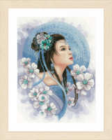 Counted Cross Stitch Kit: Asian Lady in Blue (Evenweave)