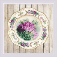 Chrysanthemum Plate Satin Stitch Cross Stitch Kit By Riolis