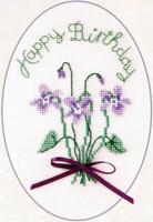 Violets Cross Stitch Birthday Card Kit by Derwentwater