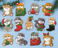 Holiday Cats Ornaments FELT kit By Design Works