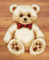 Brown Teddy shaped Latch Hook rug