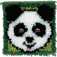 Panda on Green Latch Hook Rug Kit