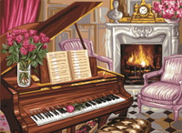 Piano Scene Tapestry Canvas