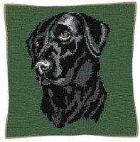 Black Labrador Tapestry Cushion Kit