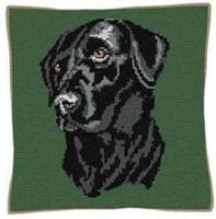 Black Labrador Tapestry Cushion Kit