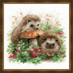 Hedgehogs in Lingonberries Cross Stitch by Riolis