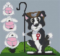 Border Collie Dog Caricature Cross Stitch Kit