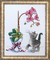 Orchid Kitty Cross Stitch Kit By Design Works
