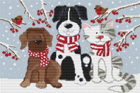 Pets In The Snow Cross Stitch Kit By Stitchtastic
