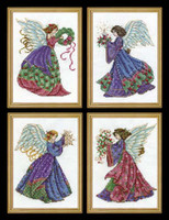 Four Christmas Angels Cross Stitch Kit By Design Works