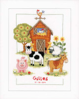 At The Farm Birth Sampler Cross Stitch Kit By Vervaco