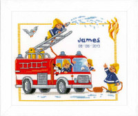 Fireman Birth Sampler Cross Stitch Kit