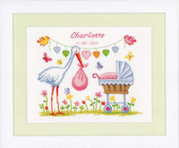 Stork And Pram Birth Sampler Cross Stitch Kit